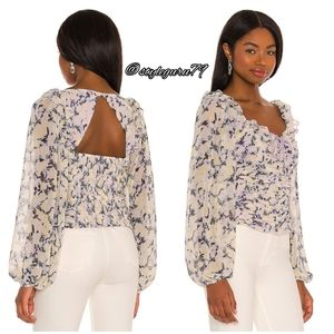 NWT, Free People, Mabel Printed Blouse in Lilac